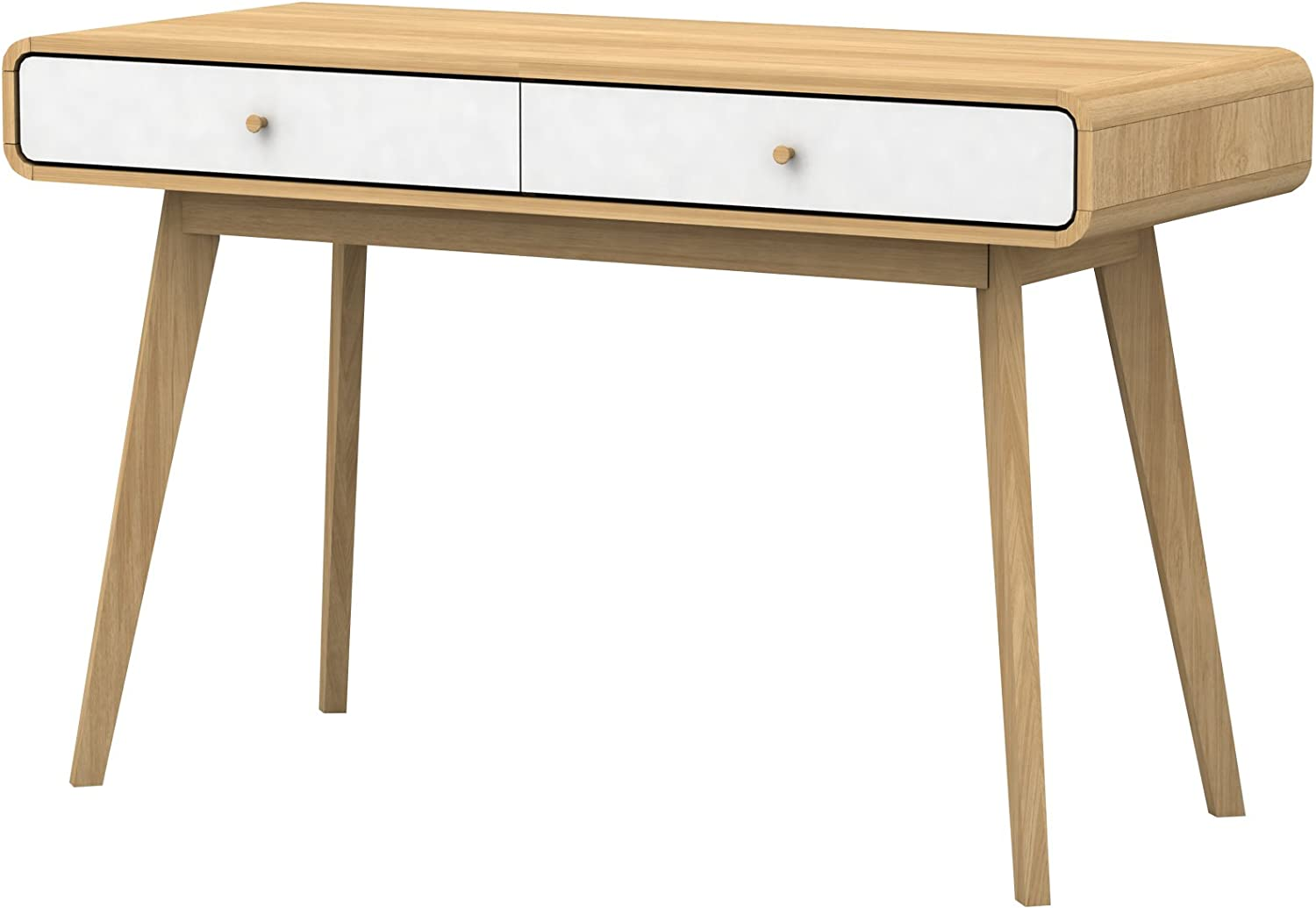 Computer Desk Home Office Console Table With 2 Drawers Workstation Modern Scandinavian Design Foiled Particle Board Easy Care Mdf Oak White Amazon Co Uk Kitchen Home