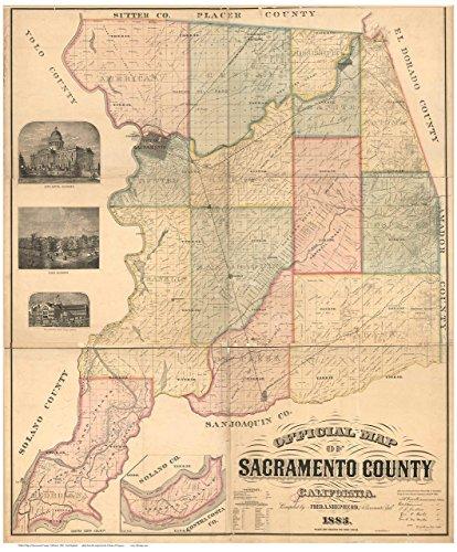 1885 Map (Sacramento County California 1885 - Wall Map with Landowner Names Farm Lines Genealogy Old Map Reprint)