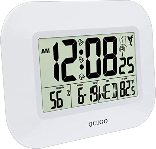 QUIGO Atomic Digital Wall Clock Large Alarm Battery Operated Bedroom Kitchen Office Desk 14 White