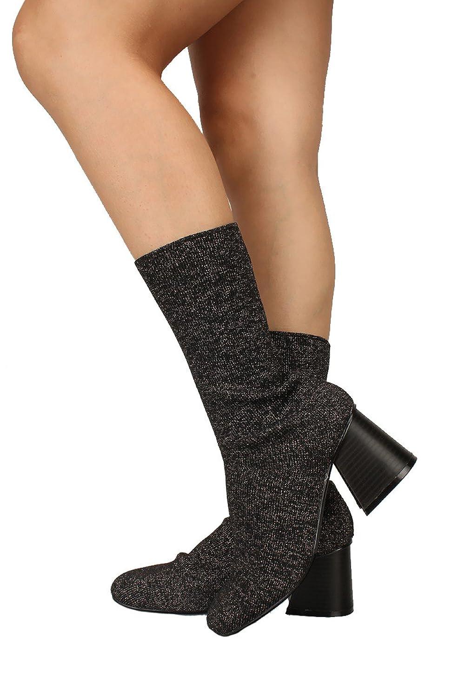 2d5883cf Qupid Cape Robbin Mujeres Daisy Black Shimmer Chunky Heel Bota media  botines Sparkling Bootie Negro