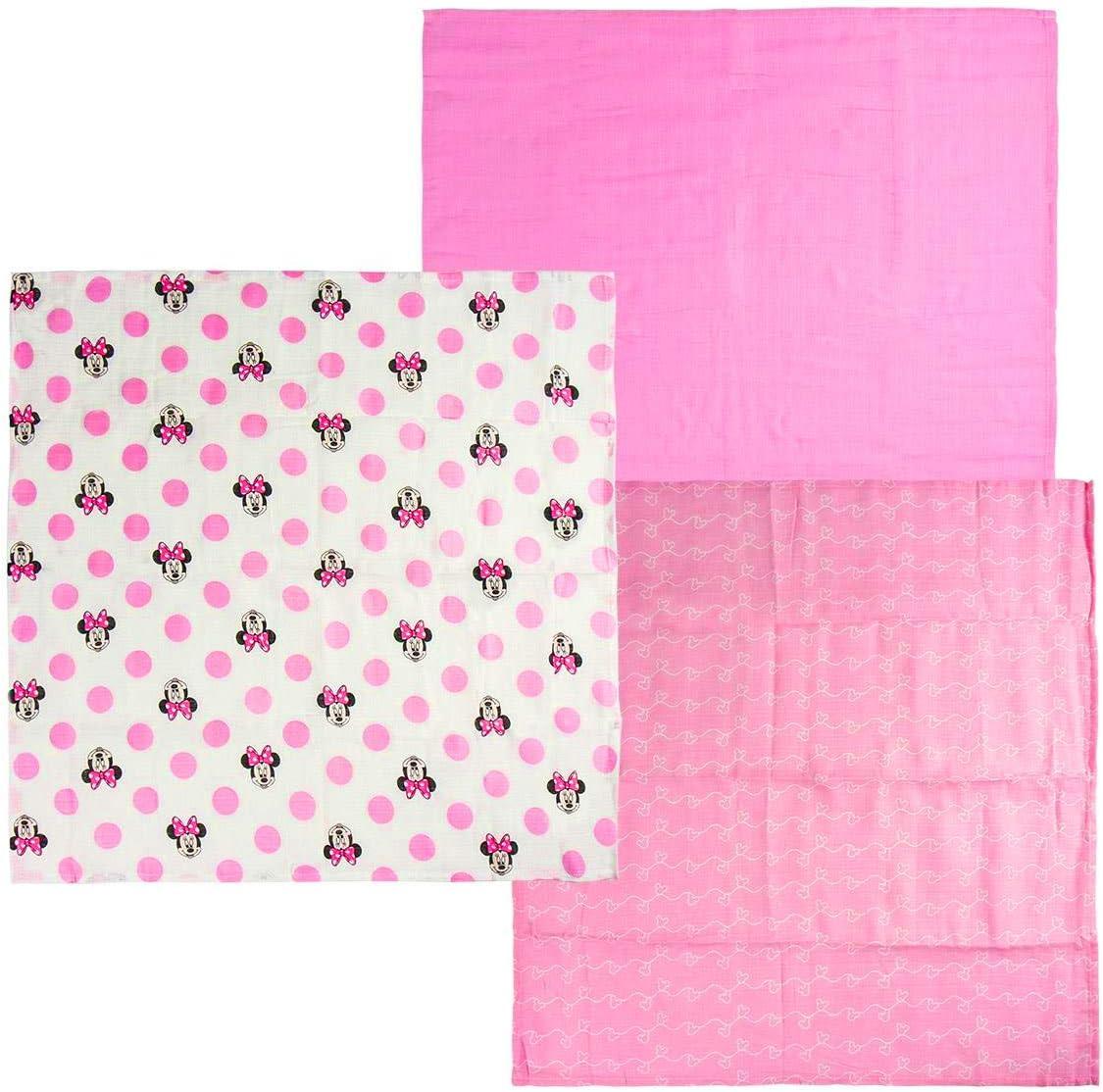 100 /% algod/ón suave 3 unidades 60 x 60 cm Manteles individuales de muselina de Minnie Mouse Disney color rosa Pack 1