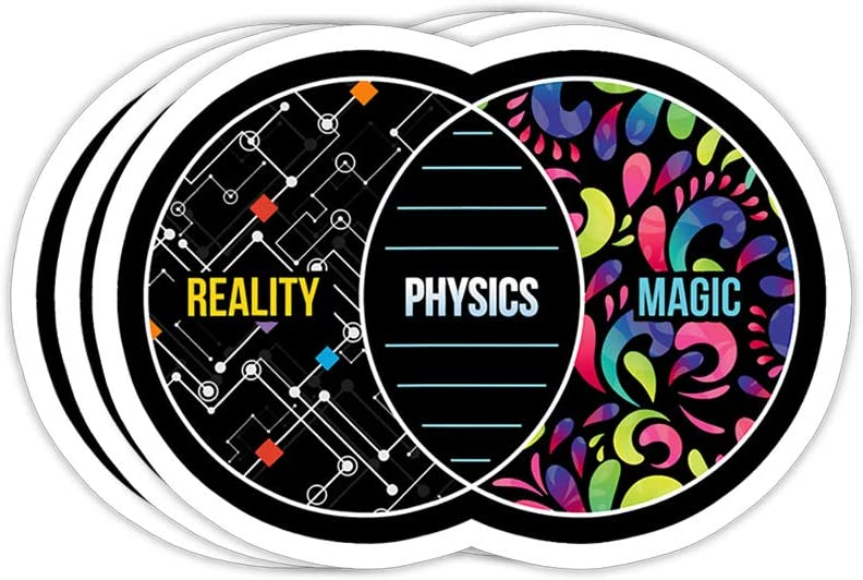 Physics Like Magic But Real - Funny Physics Pun Gift Decorations - 4x3 Vinyl Stickers, Laptop Decal, Water Bottle Sticker (Set of 3)
