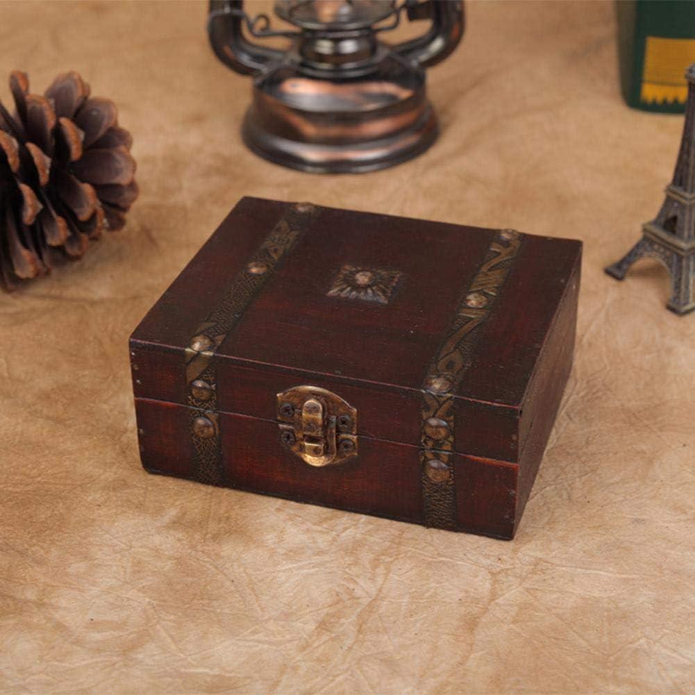 Dream-cool Caja de Madera de Hierro Vintage, Recuerdo de Cofre del Tesoro y joyero de Madera, Caja de Madera de Cofre del Tesoro con Cerradura de Hierro Antiguo y Llave Maestra Awesome