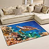 Naanle Ocean Beach Theme Area Rug 3'x5′, Hawaiian Green Sea Turtle Polyester Area Rug Mat for Living Dining Dorm Room Bedroom Home Decorative Review