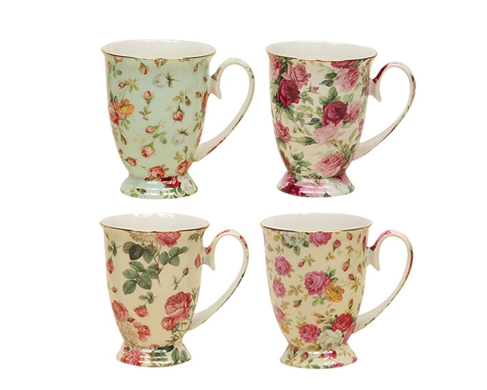Gracie China by Coastline Imports Rose Chintz Porcelain Footed Mug Assorted with Gold Trim, 9-Ounce, Set of 4 33706