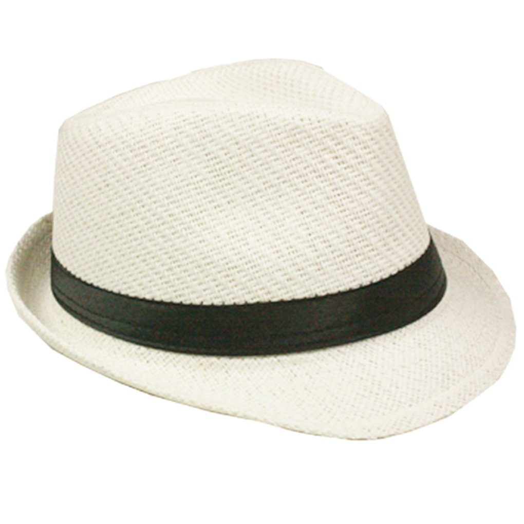 Silver Fever Stripped Panama Fedora Hat for Men or Women (White Black Belt)