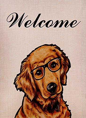 tive Outdoor Dog Garden Flag Welcome Quote, Golden Retriever House Yard Flag, Animal Garden Yard Decorations, Seasonal Outdoor Flag 12.5 x 18 Glasses Dog for Lover (Retriever House Flag)