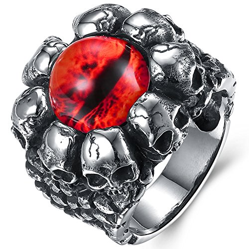 Punk Devil Girl Costume (Men's Vintage Gothic Stainless Steel Band Rings Silver Black Created Gemstone Devil Eye Skulls Punk Biker Rings Red Size 8)