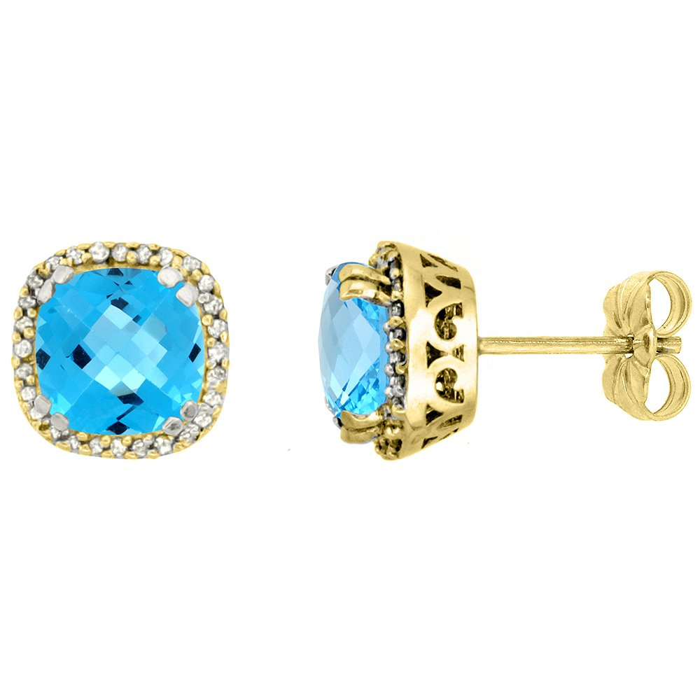 10k Yellow Gold Diamond Halo Natural Swiss Blue Topaz Stud Earrings Cushion Shaped 7x7 mm