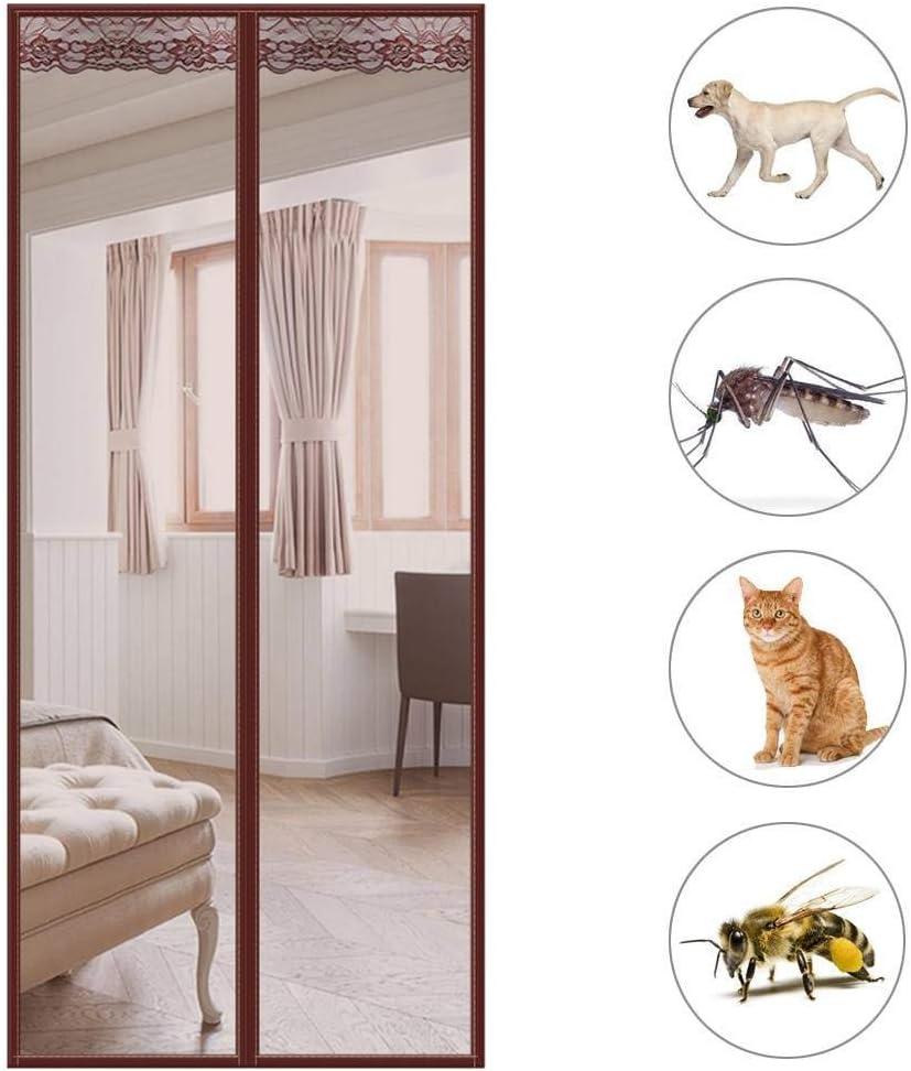 GOUDU Mosquitera Magn/éTica Mosquiteras a Medida con Durable Anti Insectos Moscas y Mosquitos para Terraza 33x85inch Marr/ón 85x215cm