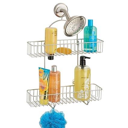 mDesign Repisas para baño sin taladros – Organizador de baño de Metal Resistente para champú, Gel y Otros – Estantes para baño para Colgar de la Ducha ...