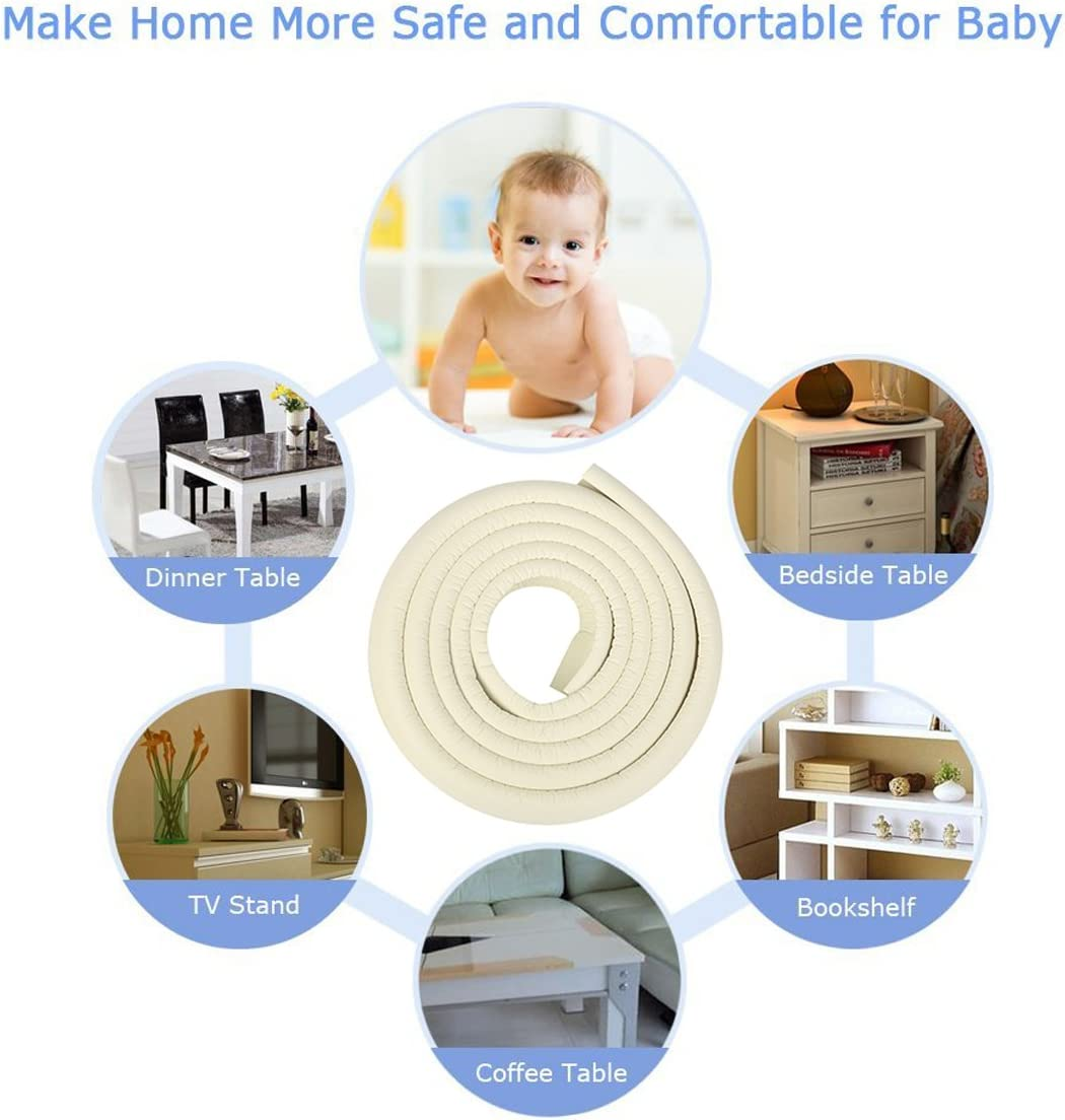 soft Non-toxic and environmentally friendly white 5.76mm thickness JNTworld 4m length table edge Guard baby toddler cushion protector +4 corner