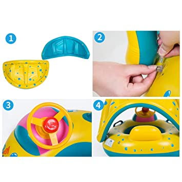 OPSLEA Bebé Inflable Piscina Flotador Anillo de natación Asiento de bebé Barco Yate Protector Solar Toldo Juguetes para el Agua: Amazon.es: Hogar