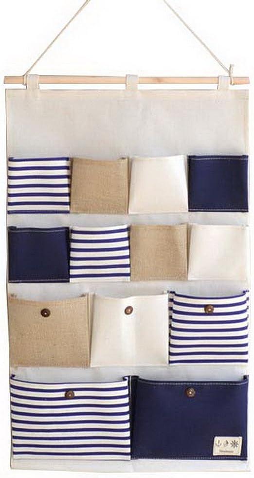 Acmede Sac De Rangement Suspendu A 13 Poches En Tissu Panier Pochette De Rangement Sac Organisateur Mural Bleu Amazon Fr Cuisine Maison