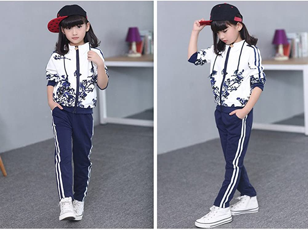 Jogger Trousers Clothes Set Outfits Sport Suit Kids Girls Boys Tracksuit Floral Print Zip Hooded Jacket Top