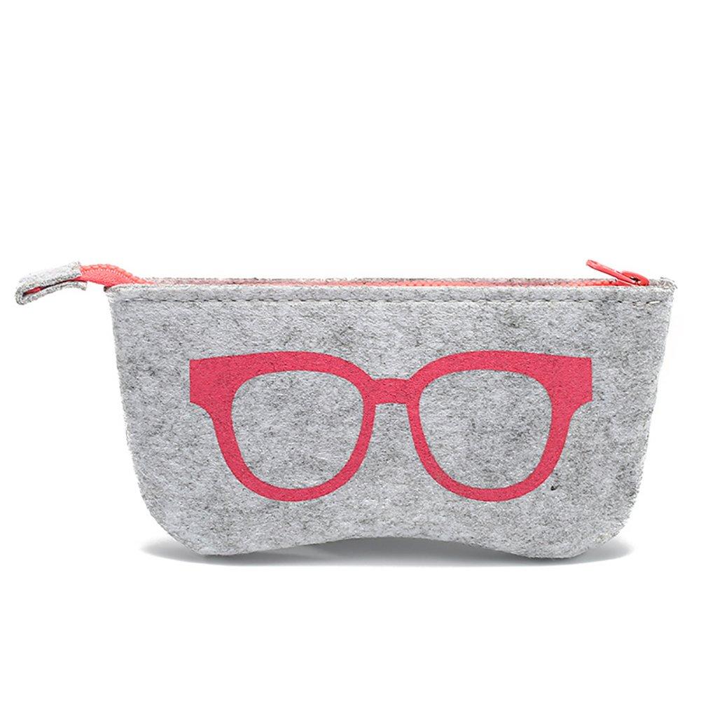 9CM Red Daliuing occhiali borsa casual portatile feltro morbido con cerniera multifunzionale occhio occhiali custodia per trucco della borsa occhiali 18.5