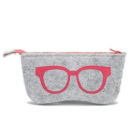 Daliuing - Bolsa de gafas blandas de fieltro portátil con cremallera, multifuncional, para maquillaje, monedero, gafas 18.5 * 9CM rosa