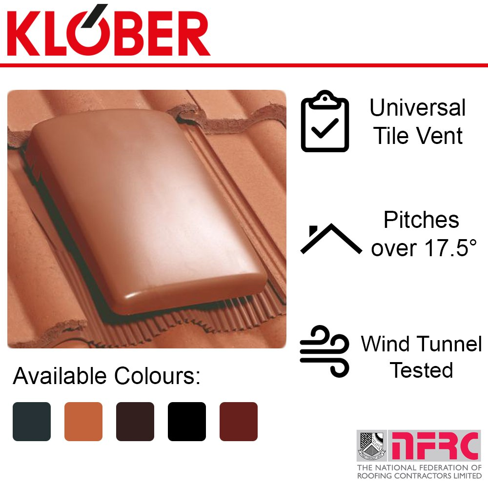 Klober Universal Tile Vent and Cap | Concrete Roof Tiles | Ventilation Voids | 20K | 5 Colours | Terracotta
