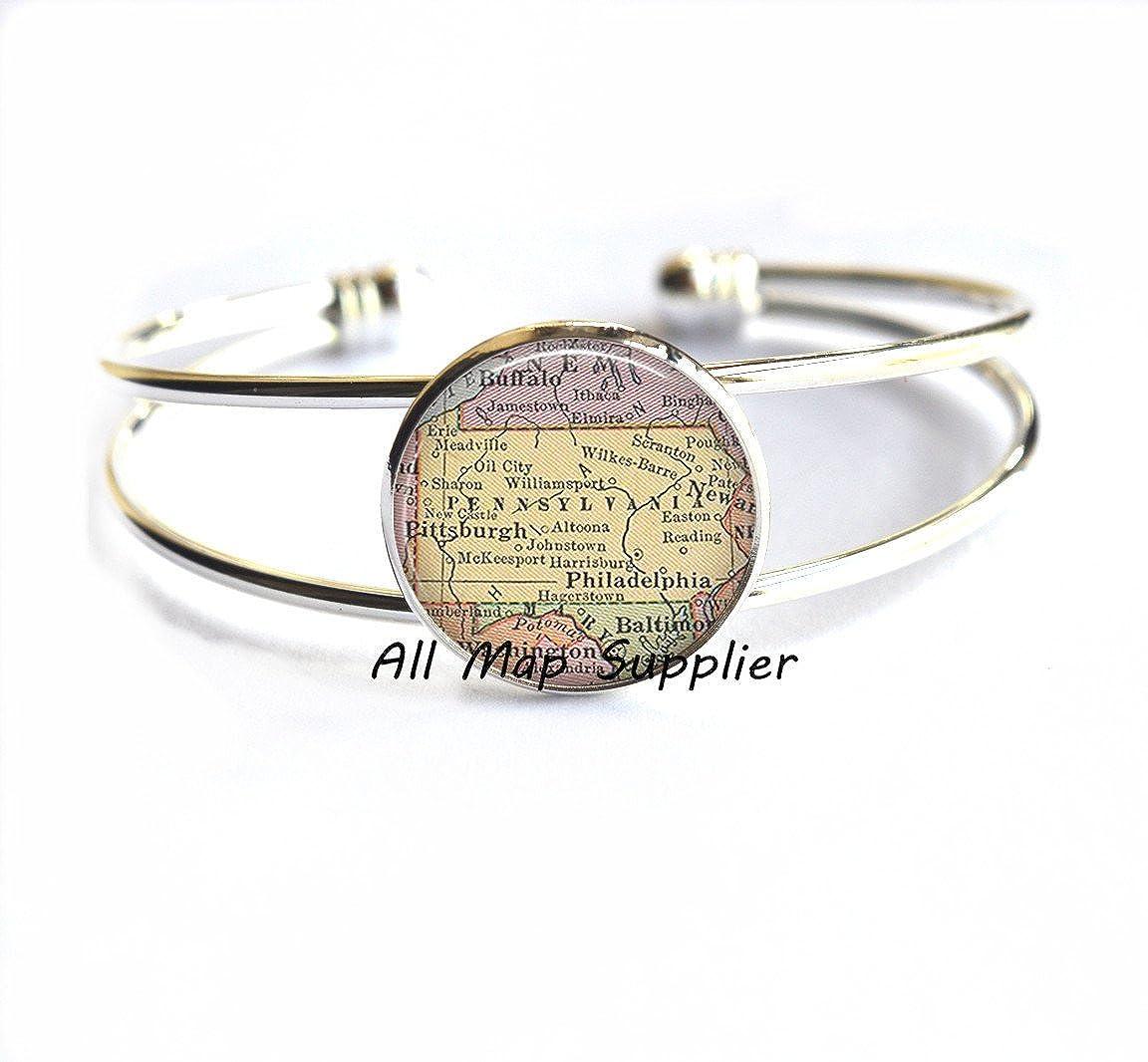 Charming Bracelet,Pennsylvania map Bracelets state map jewelry Pennsylvania map Bracelet,AO152 Pennsylvania Bracelets