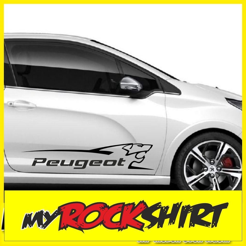 Lot de 2 autocollants /«Peugeot lion/» 100 cm avec kit de montage qui inclus 1 raclette de pose Estrellina-Montage-Rakel/® /& 1 autocollant porte-bonheur Estrellina-Gl/ücksaufkleber/® autocollants pour un niveau d/'exigence /&ea