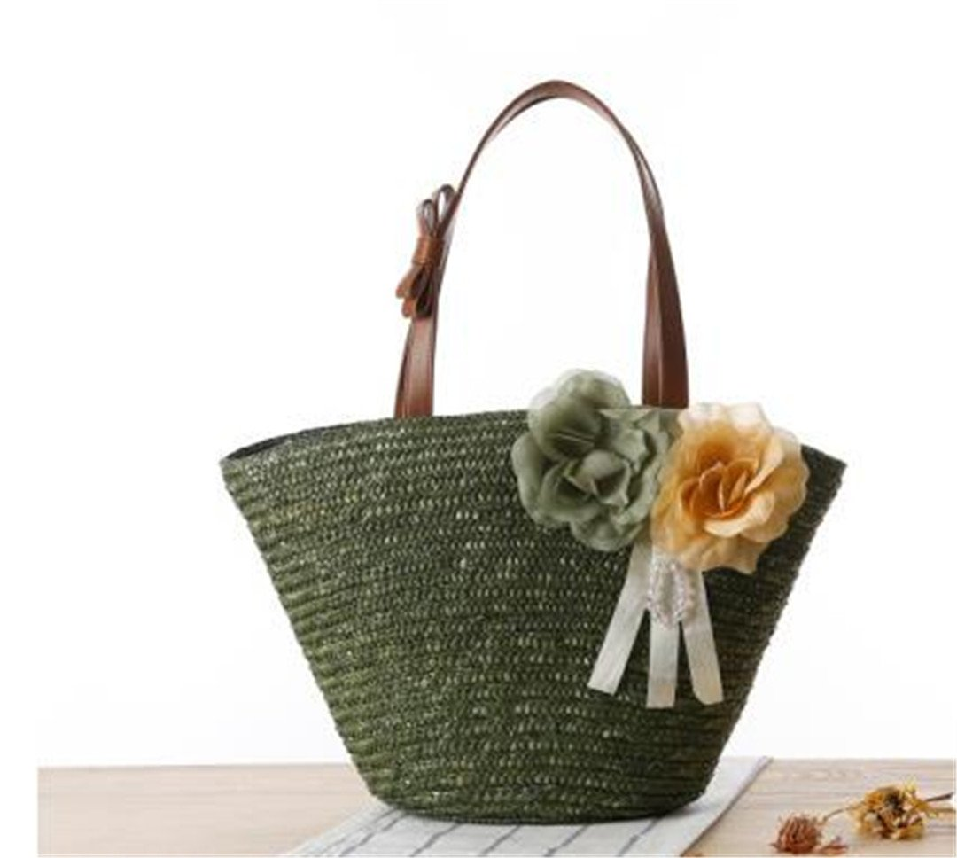 Rattan Woven Women Shuolder Bags Two Beautiful Flowers Straw Beach Handbags Bolsos De Compras De Alta Calidad J135 Army Green: Amazon.es: Deportes y aire ...