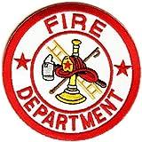 ワッペン FIRE DEPT レッド ホワイト 丸型 熱圧着式