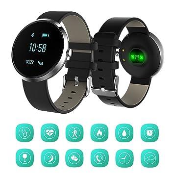 Fancy Cherry® estilo de negocios reloj inteligente Fitness Tracker pulsera Bluetooth 4.0 impermeable con monitor de frecuencia cardíaca y monitor de ...