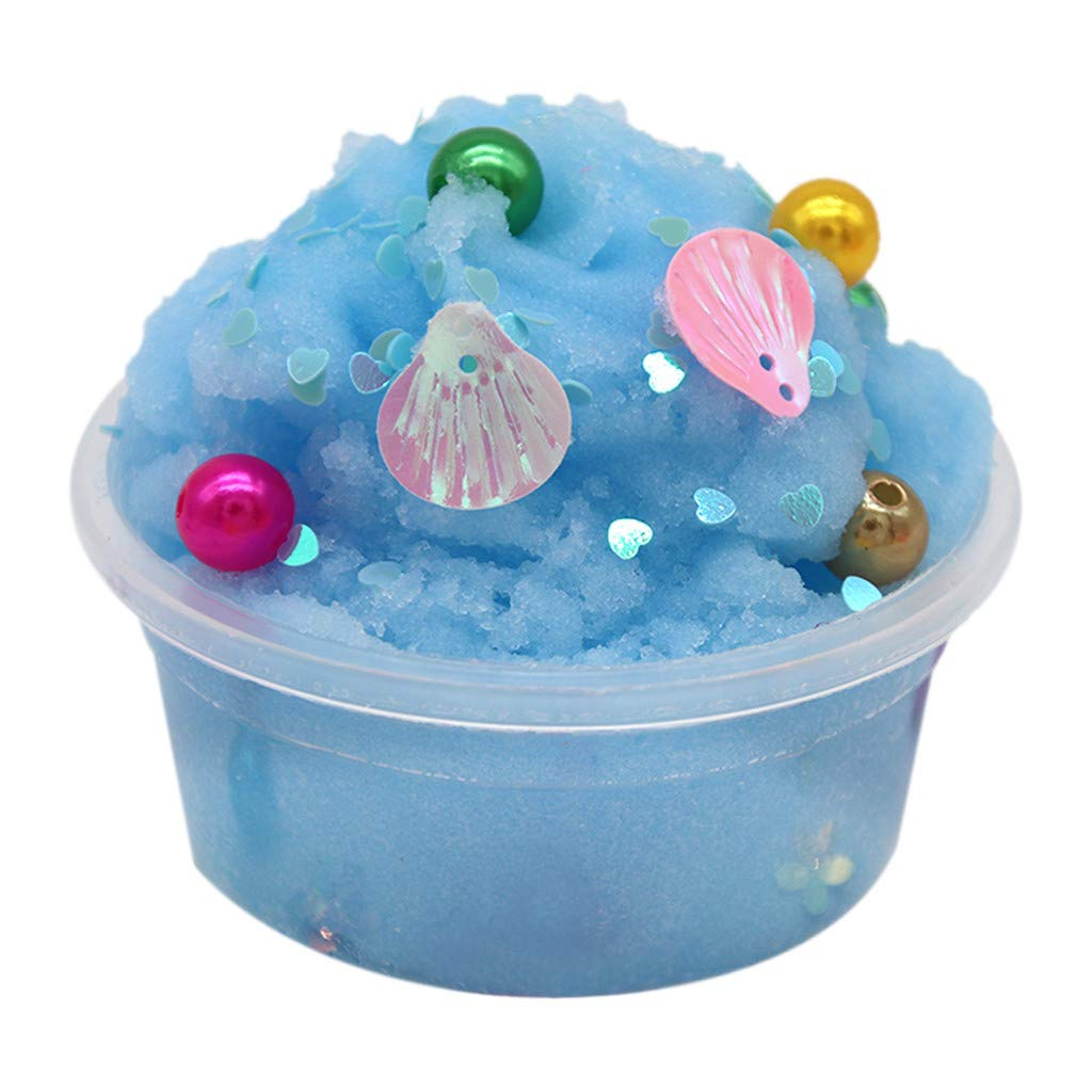 Klions Flower Pearl Cotton Mud Puff Slime Putty Scented Stress Kids Clay Toy Blue 60ml Great Toy for Any Child Favor, Gift, Birthday,No-Toxic,Skin Safe