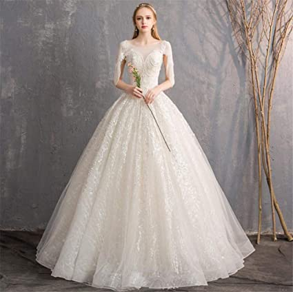 Amazon.com: ELEGENCE Z Wedding Dress, Europe And America Simple Round Neck  Stereoscopic Waist Elegant Beading Qidi Waist Dress: Sports U0026 Outdoors