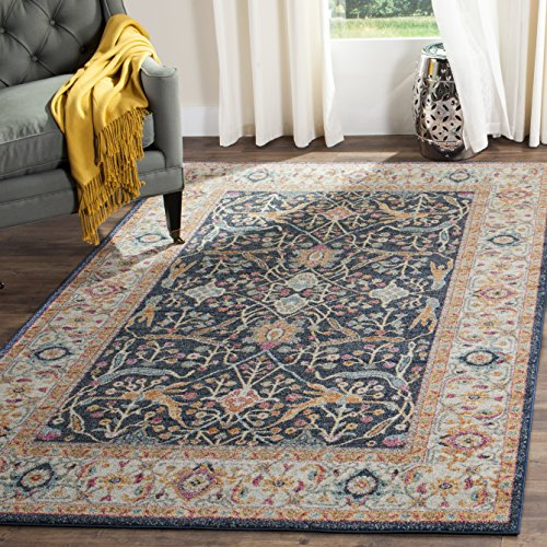 Safavieh Madison Collection MAD612D Navy and Cream Bohemian Chic Oriental Area Rug (5'1