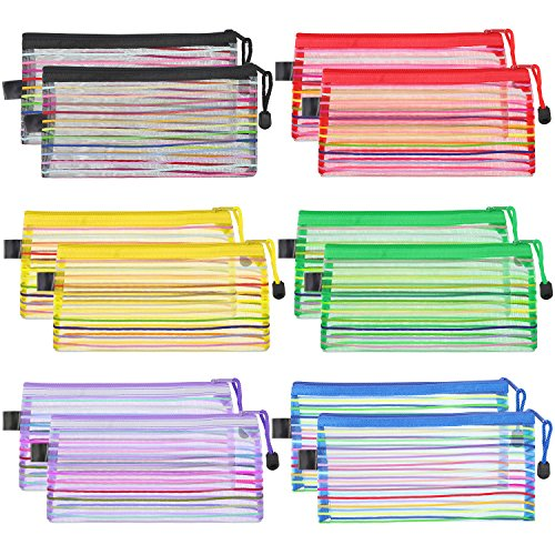 Bememo 12 Pieces 6 Colors Zipper Mesh Pouch Multipurpose Travel Bag for Cosmetics Offices Supplies Travel Accessories (Pouch Color)