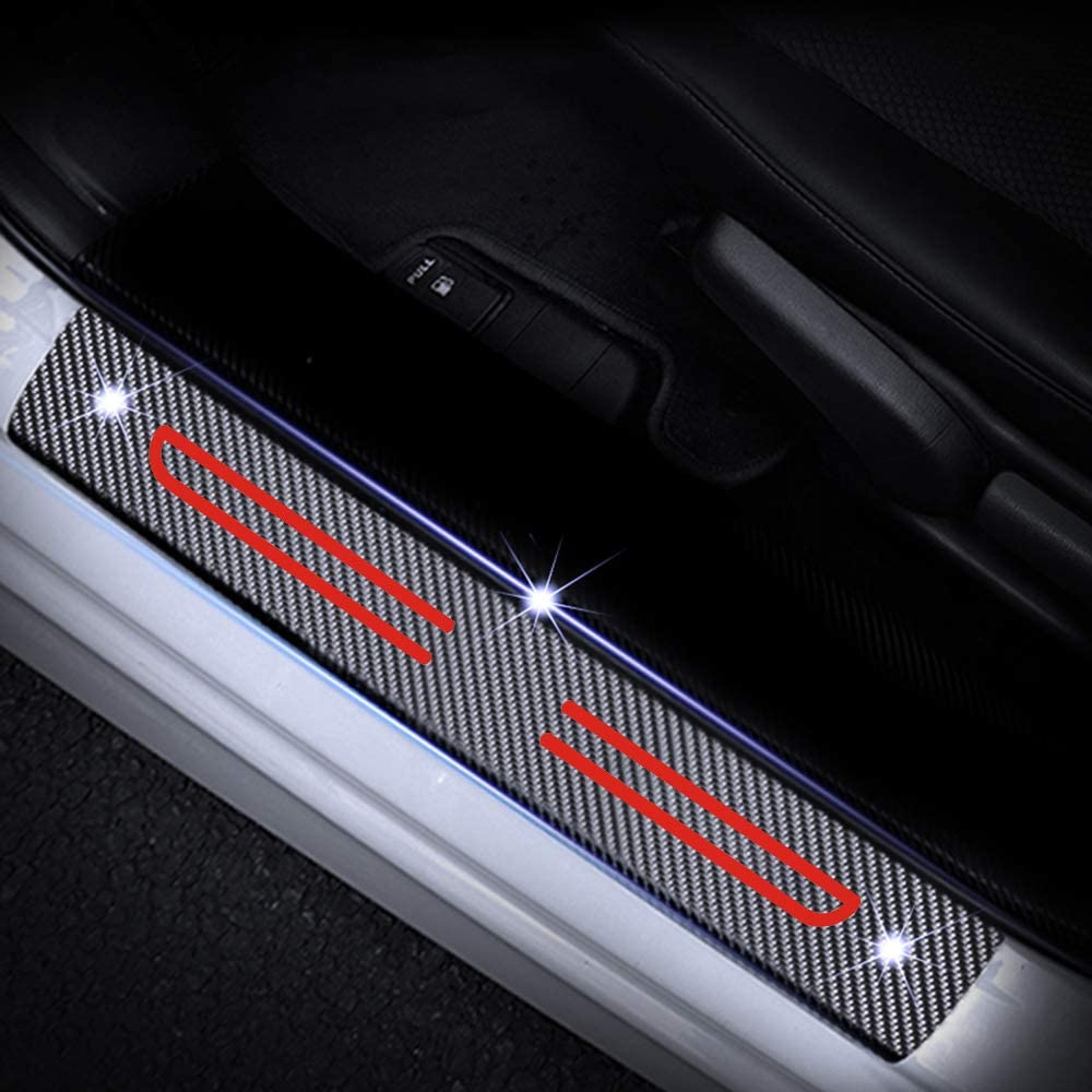 For CIVIC CR-V NSX JAZZ HR-V FIT City Accord Odyssey Pilot Kick Plate Protectors Door Sill Trims Cover White 4Pcs Carbon Fiber Scuff Plate Guard
