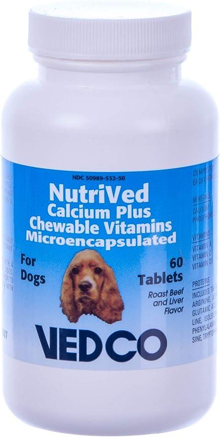 Nutrived El Calcio masticable Plus vitaminas para Perros - 60 tabletas: Amazon.es: Productos para mascotas