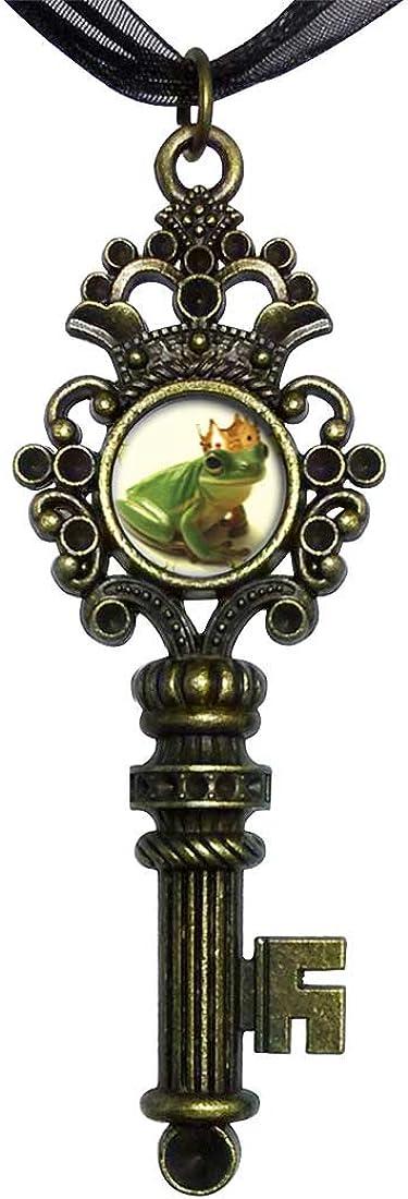 GiftJewelryShop Bronze Retro Style Frog Prince Vintage Keys Charm Pendant Necklace