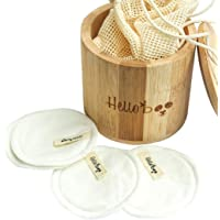Bamboo Makeup Remover Pads | Pack of 16 Pads with a Cotton Bag and Bamboo Jar | Soft Gentle Eco-Friendly and Reusable…