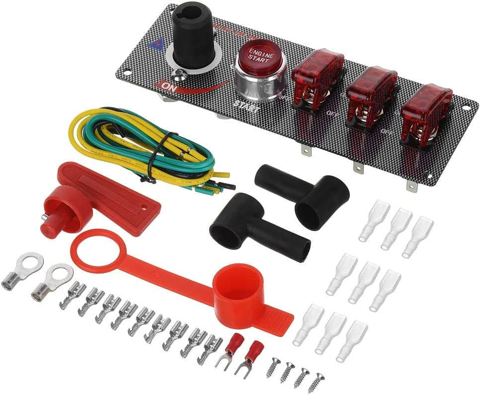 Jtron 12V Racing Car Ignition Switch Car Engine Start Push Flip-up Start Toggle Switch Button Panel Racing Sport Competitive Car Red LED Indicator Car Modification Cut Off Switch