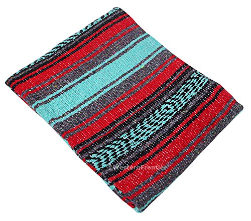 El Paso Designs Mexican Yoga Blanket Colorful 47in x 68in Yoga Studio Mexican Falsa Blanket Ideal for Yoga, Camping, Picnic, Beach Blanket, Bedding, Home Decor Soft Woven Serape (Red, Mint and Gray)