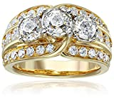 14k Yellow Gold Three Stone Diamond Illusion Engagement Ring (3cttw, H-I Color,I2 Clarity), Size 7