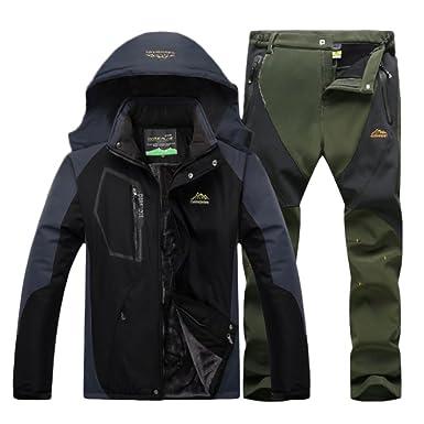 Qitun Hombre de Trekking Impermeable Deportivos Transpirable Pantalones Chaqueta de Esquí Impermeable Chaqueta de Nieve Excursionismo Conjunto