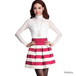 Women's Thick Stripe Pleated High Waist Skater Tutu Skirt Short Mini Dress Z7019