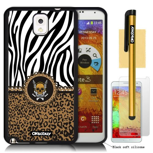 OkSoBuy® Samsung Galaxy Note 3 Case Pattern Zebra Leopard Skull Texture Impact Case for Galaxy Note 3 Note III N9000 with Screen Protector and Stylus (Black with Brown Zebra Leopard Skull)