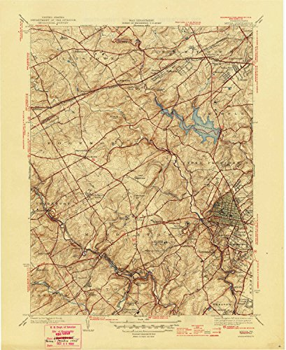 YellowMaps Media PA topo map, 1:31680 Scale, 7.5 X 7.5 Minute, Historical, 1945, 20.9 x 17 in - Polypropylene -