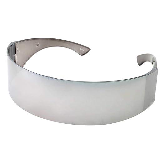 17bea09e6c4 Amazon.com  grinderPUNCH Silver Mirror Futuristic Shield Sunglasses ...
