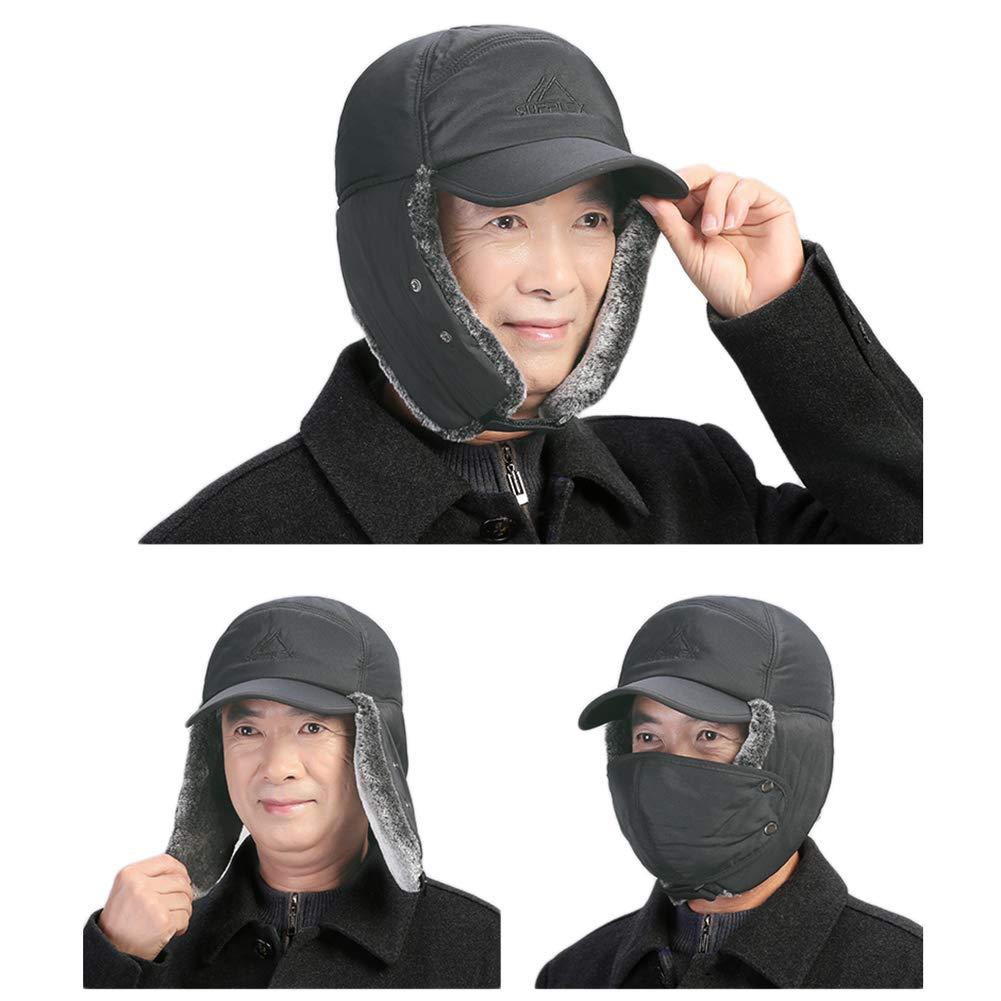 per caccia unisex ciclismo berretto impermeabile berretto Ushanka per pesca in finta pelliccia Cappello bomber invernale antivento con maschera paraorecchie super caldo trooperoper sci