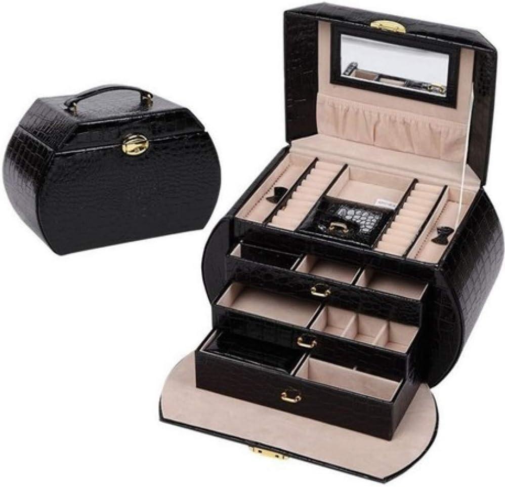 Estuche de Maquillaje Joyero Estuche de cosméticos portátil Caja de joyería Grande para Mujer Caja de Almacenamiento de Cuero portátil Negro 28.5 * 16 * 19cm: Amazon.es: Equipaje