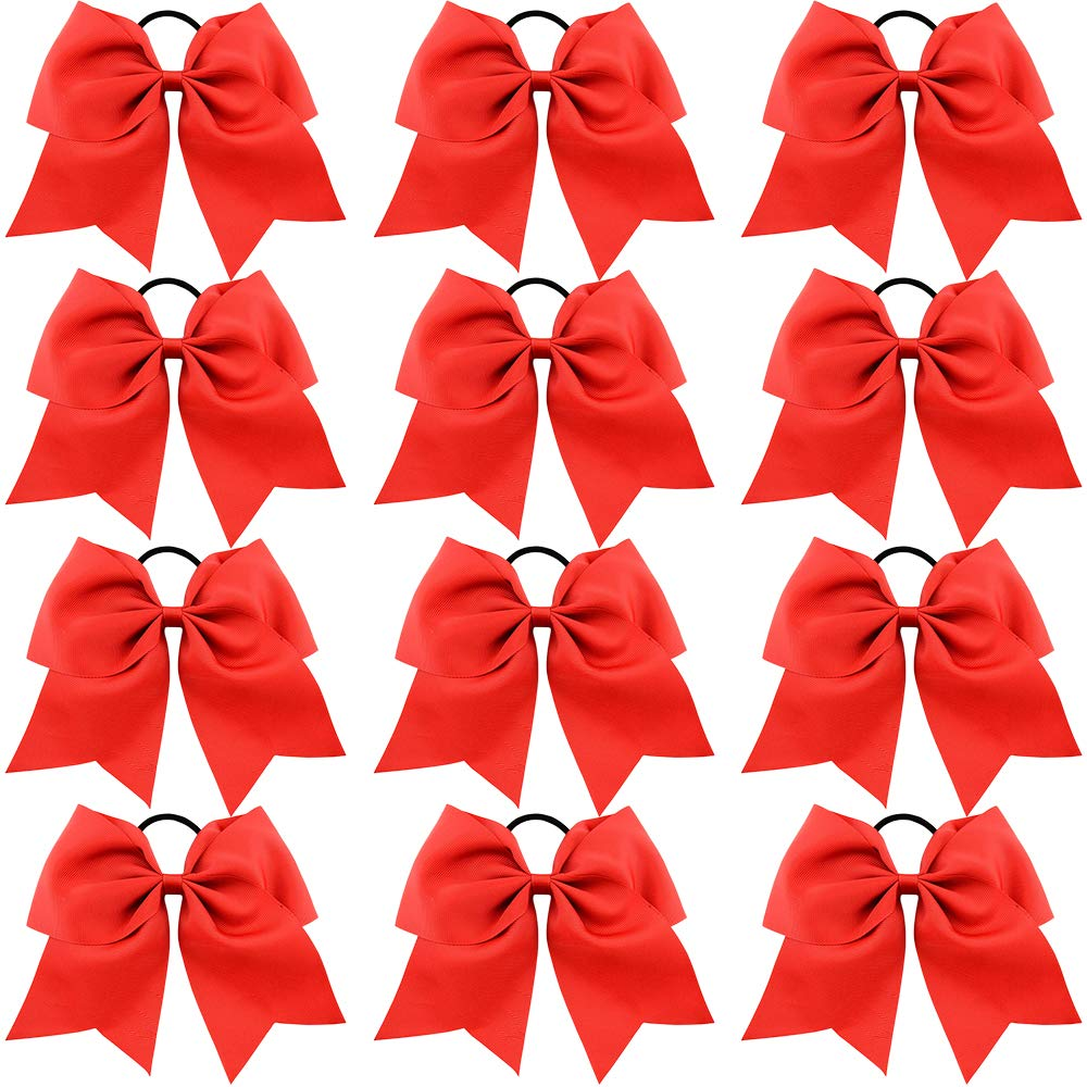 CHLONG 8'' Large Cheer Bow with Ponytail Holder Classic Hair Bow Accessories for Cheerleader Girls Teen College 12pcs (Red)