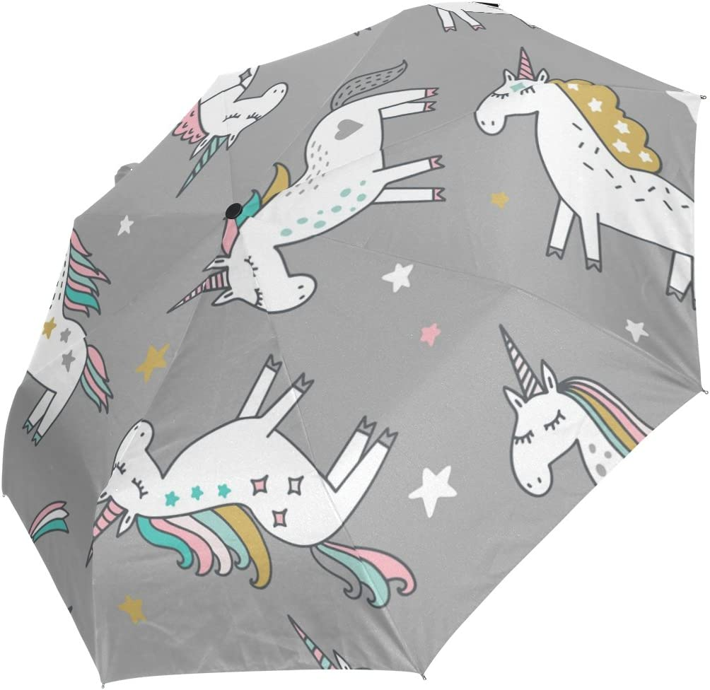 GIOVANIOR Unicorn Magic Stars Umbrella Double Sided Canopy Auto Open Close Foldable Travel Rain Umbrellas