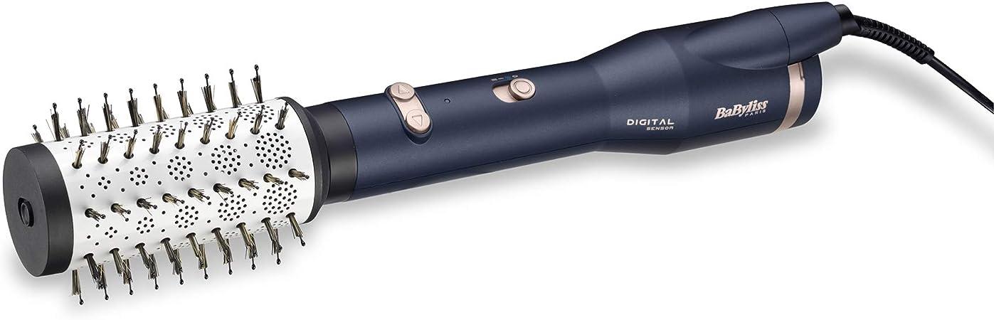 BaByliss AS500E – Cepillo de aire con sensor digital ajusta automáticamente la temperatura según el cabezal, 4 cabezales, base cerámica, aerodinámica térmica, iónico, 2 velocidades y aire frío: Amazon.es: Salud y cuidado personal