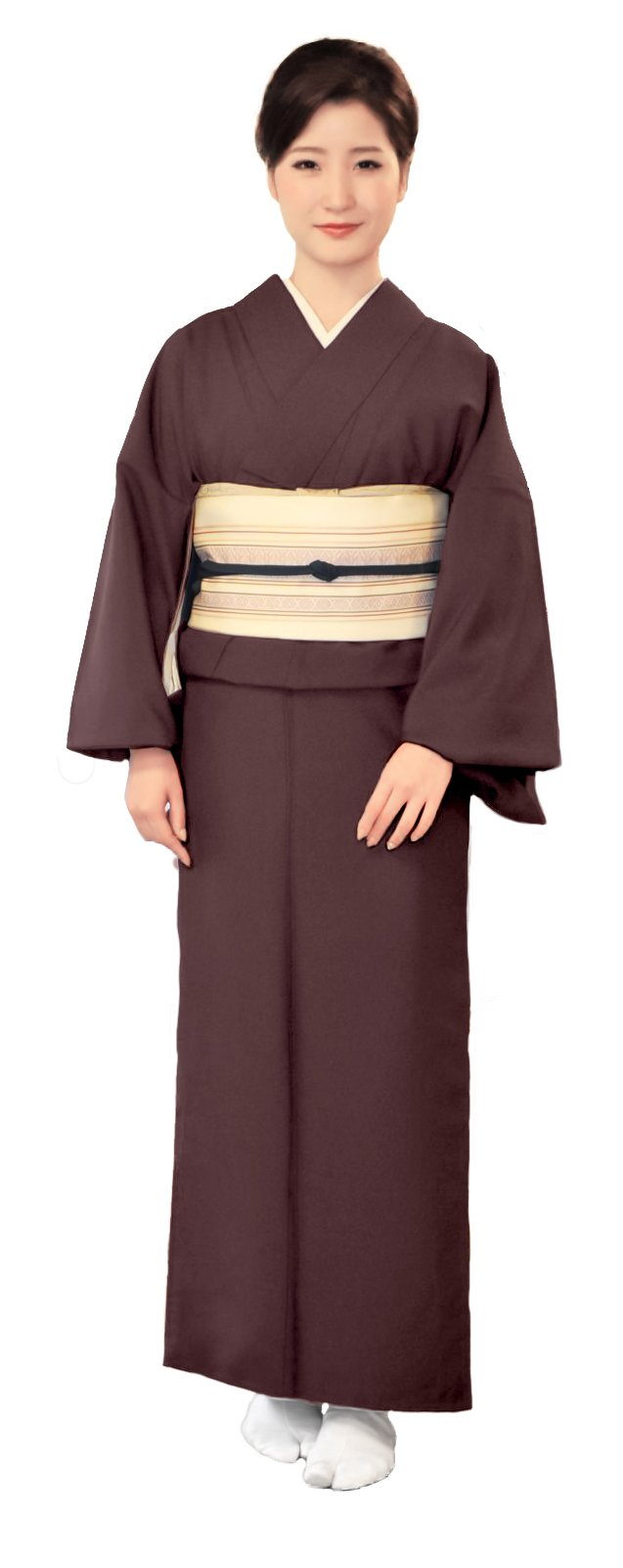 KYOETSU Women's Washable Unlined Kimono Hitoe (Medium(Japan size LL), Brown)