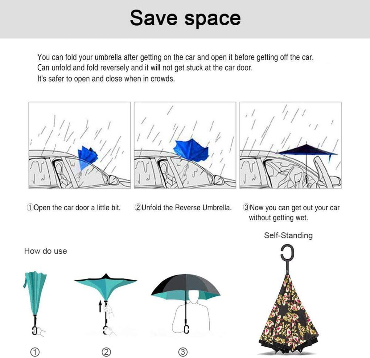 Folding Reverse Umbrella for Car Rain Outdoor PYFXSALA Yellow Flower Texture Windproof Inverted Umbrella Double Layer UV Protection Self Stand Upside Down with C-Shaped Handle